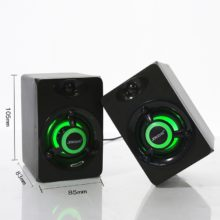 PC Speaker 3.5mm AUX IN for Laptop & Smartphones, USB Wired Mini Computer Speakers LED Bass Stereo Subwoofer