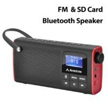 FM Radio with Bluetooth Speaker and SD Card Player 3-in-1, MP3 Player with Headphones Socket